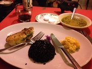 Seasoned snapper with black rice and ackee