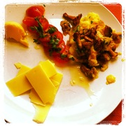 Wild Mushrooms with Potato Rosti, Roast Tomatoes