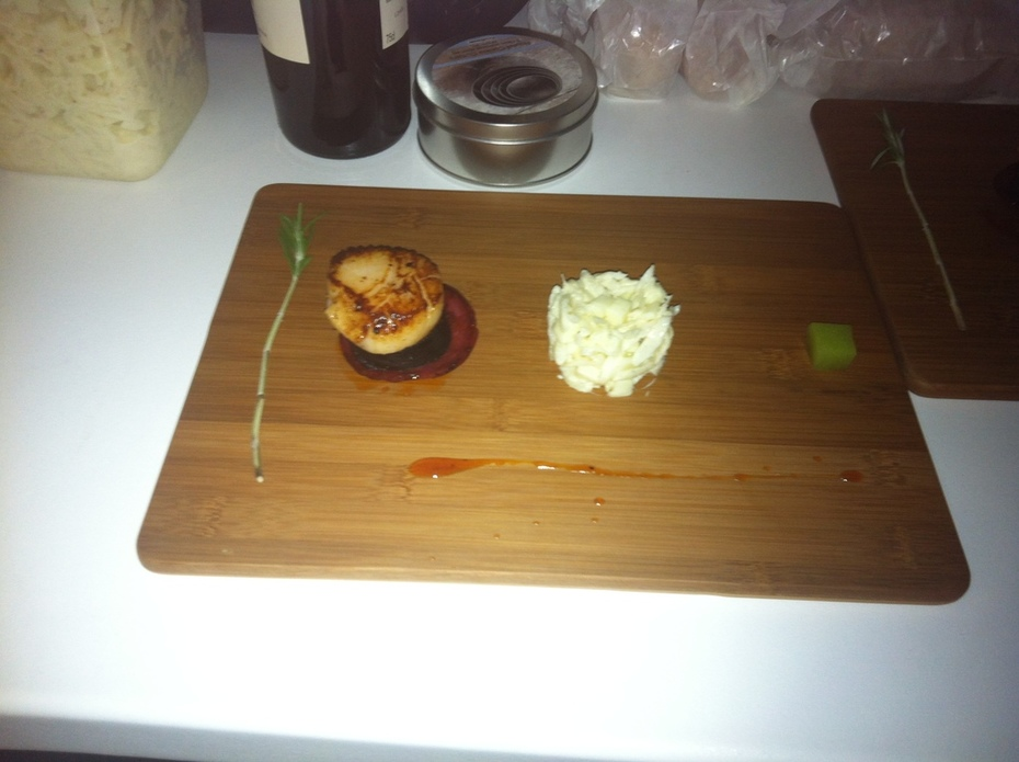Scallop with Chorizio & Black Pudding with Pea Jelly and Apple , Celaric Salad