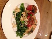 Vegan - Quinoa stuffed Tomatoes, Roasted potatoes, basil oil 2