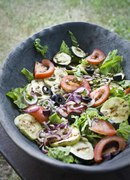Salad with grilled eggplant.