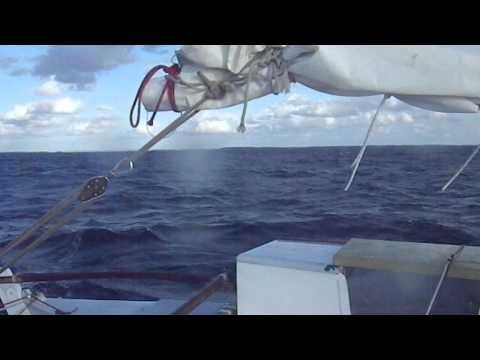 wharram tiki 30 motorsailing upwind denmark to kiel