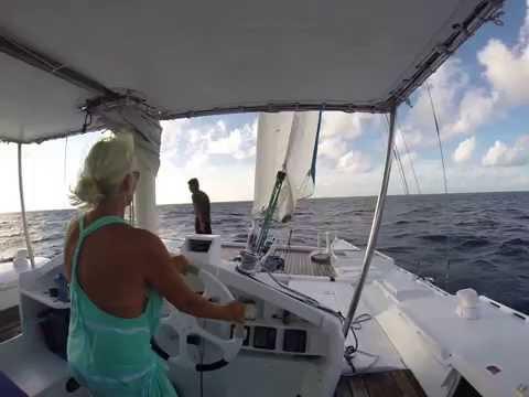 Linda sailing to windward in Palau Oct 2015