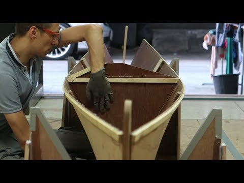 Stitching bulkhead 3 and 2 in place - Wharram Hitia 14