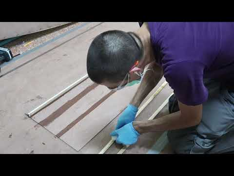 Adding the deck panel stiffeners - Wharram Hitia 14