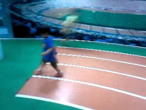 Tp ran on the running tracks.