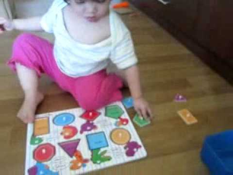 Ferngy plays with shape puzzle@1.5 years old
