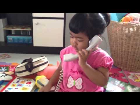 Finna @ 2.1 Years Old - Making a Phone Call
