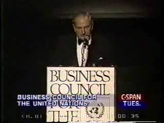 David Rockefeller discussing population control at UN Business Council