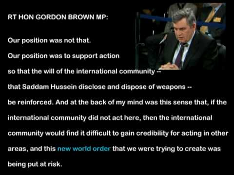 Gordon Brown says Saddam Hussein was in the way of the New World Order