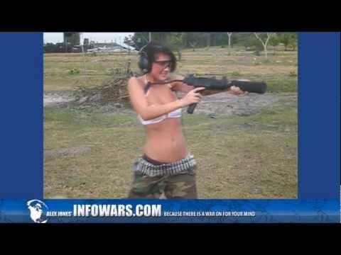 Cute Girl Shoots - Mini UZI - MP5 - FNC - Gun for Alex Jones Bikini