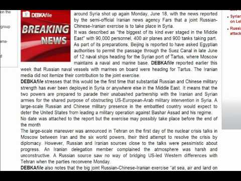 BREAKING NEWS RED ALERT! - RUSSIAN, CHINA AND IRAN JOINT MILITARY EXERCISE IN SYRIA!