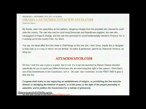 Obama Launches Snitch Website ATTACKWATCH COM   MIRROR   YouTube