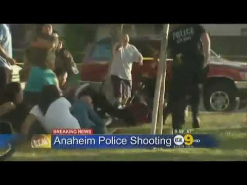 California police open fire on men,women and children.
