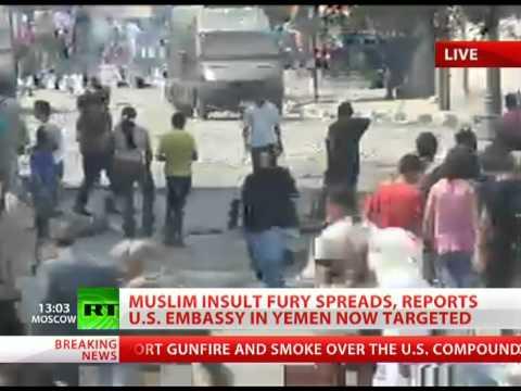 US Embassy in Yemen stormed as Muslim insult fury spreads