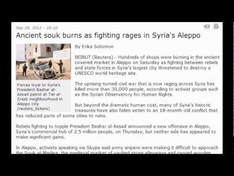 (Syria) 30,000 Dead : Ancient souk burns as fighting rages in Syria's Aleppo