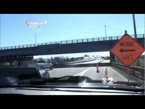 Deep Sinkhole Suddenly Opens Up On Major New Jersey Highway Damaging 18 Cars (Feb 22, 2013)