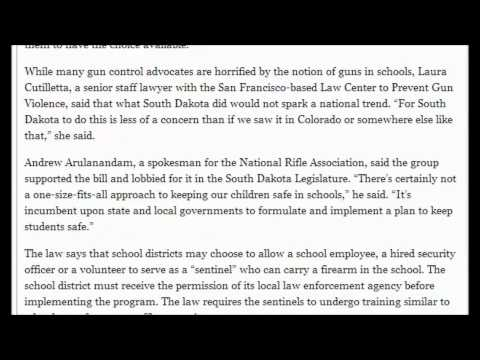 Guns Now Allowed In South Dakota Schools! South Dakota, in a First, Lets Guns in Class