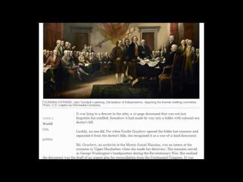 Forgotten document linked to fight for U S  independence.