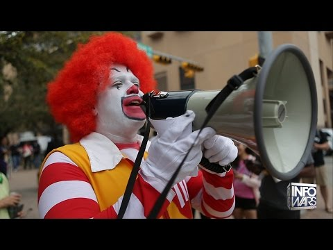 Bizarro McDonald's Mascot Attacked for Free Speech!