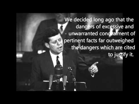 President Kennedy warning against secret societies