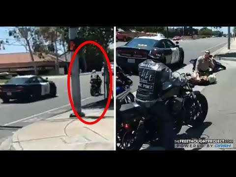 Cop Swarmed by Bikers After He Deliberately Rammed a Man on a Motorcycle