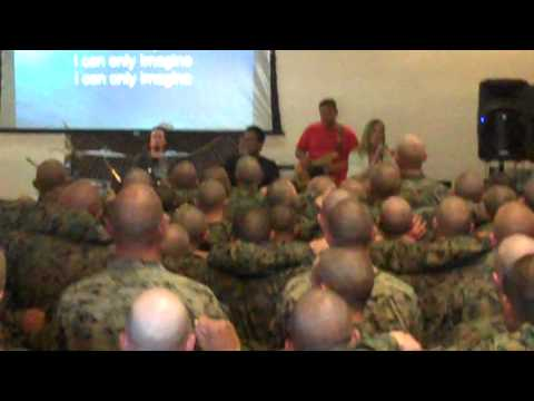 Singing I Can Only Imagine at the Marine Bootcamp
