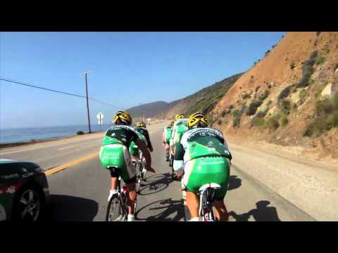 Pro Cyclists Execute Textbook Paceline -- Helmet Cam Shot with GoPro Hero HD