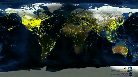 Air traffic over a period of 24h around the world