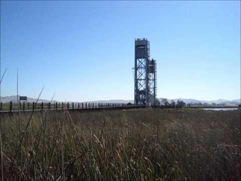 Northewsetern Pacific's Red Bandit at Brazos Lift Bridge (Napa River) and Schellville