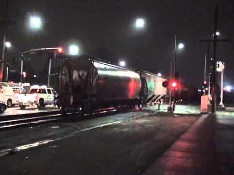 Northwestern Pacific Railroad at night w Santa Fe engine