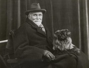 old gertleman & Pekingese dog  c1910s Private real photo