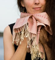 naturally dyed, handwoven silk scarf from Thailand