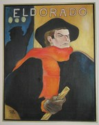 """Ode to Toulouse Lautrec's Aristide Bruant at the Eldorado"" - Oil by Ellen Hirsh-Norton (1976)"
