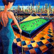 """#245 """"The Pool Room"""" 36"""" x 36"""" Oil on canvas"""