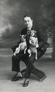 Man hold two Jack Russell terrier dog 1910s Private real photo