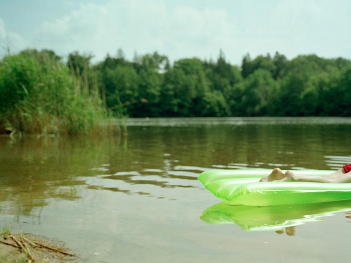Green and a lake