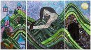 Day Dream, (3 panels 24inx12in, 18inx24in, 4in x12in), 2009 by Kasia Polkowska