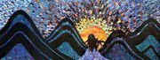 Watching the Sunset, stained glass mosaic on board, 15inx40, 2010 by Kasia Polkowska