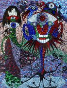 """Alcoholism, stained glass mosaic on wood, 36"""" x 24"""", 2009 by Kasia Polkowska"""