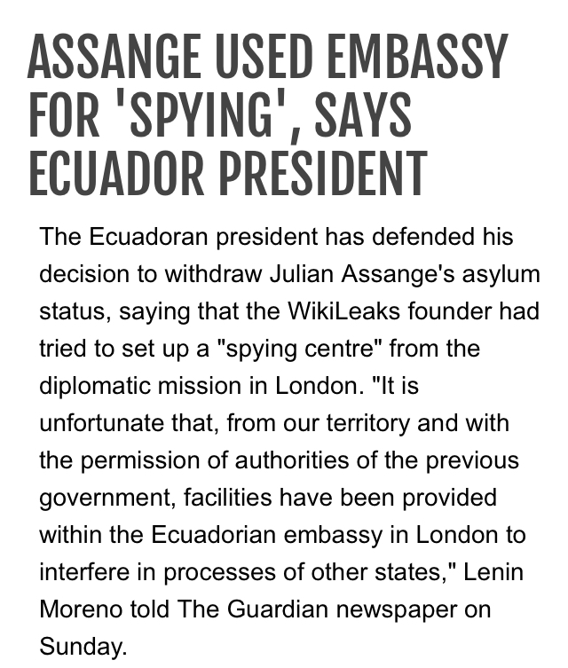 Assange Used Embassy for Spying says Equador's President