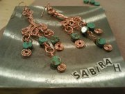 wire wrapped copper and turquoise earrings...