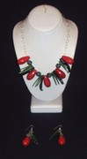 african blood...black, red coral and snowflake obsidian necklace...