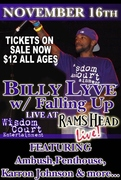 See Billy Lyve at Rams Head Live, Nov. 16th with his band, Falling Up!