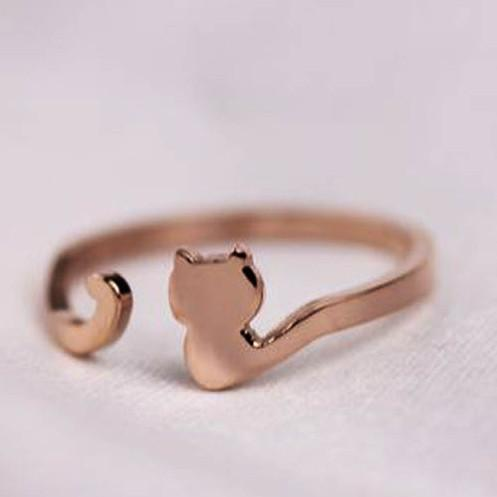 My Cat Has a Long Tail 18k Rose Gold Ring