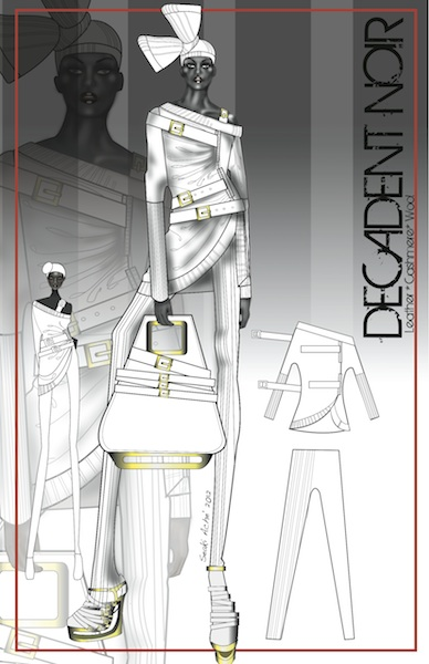 """Decadent Noir"" Second View- Fashion Design"