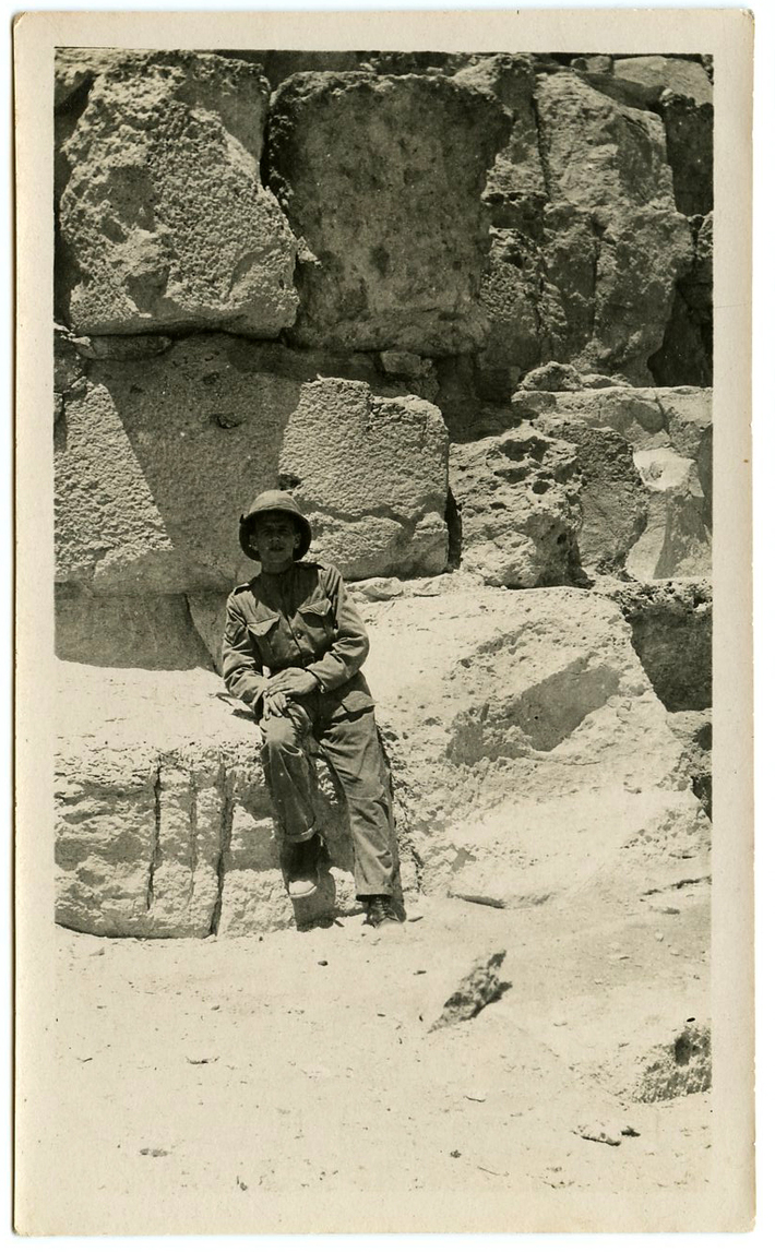 British Soldier relaxing at the Great Pyramid, Giza.