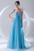Chiffon and Net Sweetheart Corset Sweep Train Embroidered Prom Dress