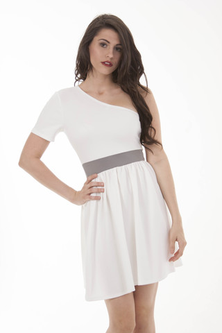 One Shoulder White and Gray A-Line Dress