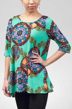 Green Print Half Sleeve Shirt